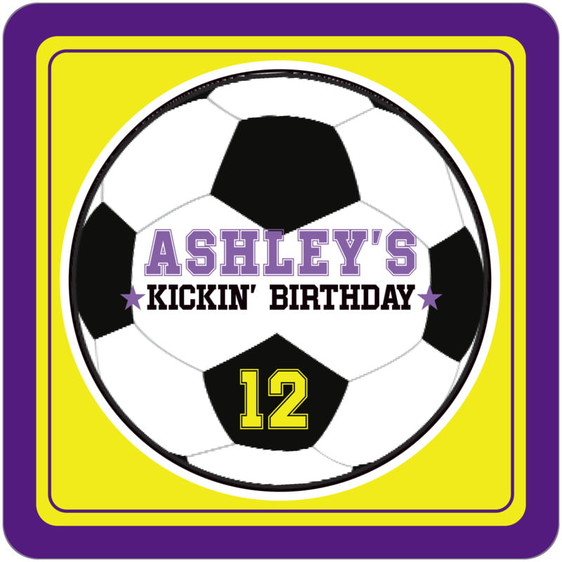 square beer coasters - yellow & purple - soccer (set of 12)