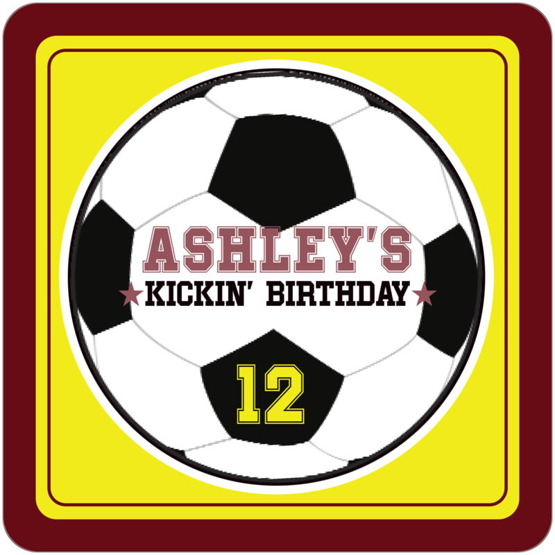 square beer coasters - yellow & maroon - soccer (set of 12)