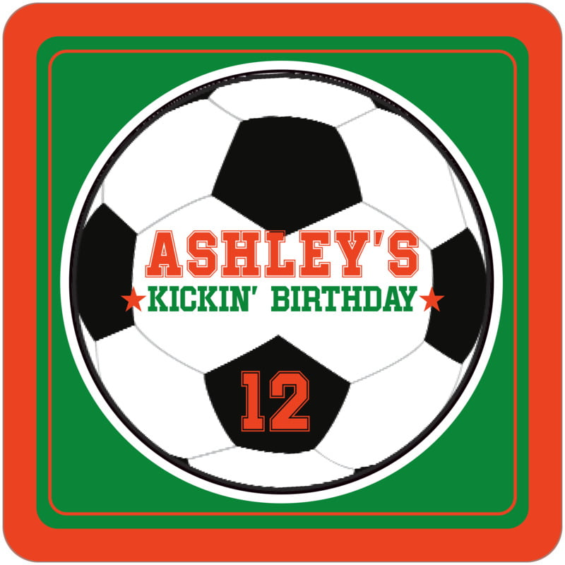 square beer coasters - green & orange - soccer (set of 12)