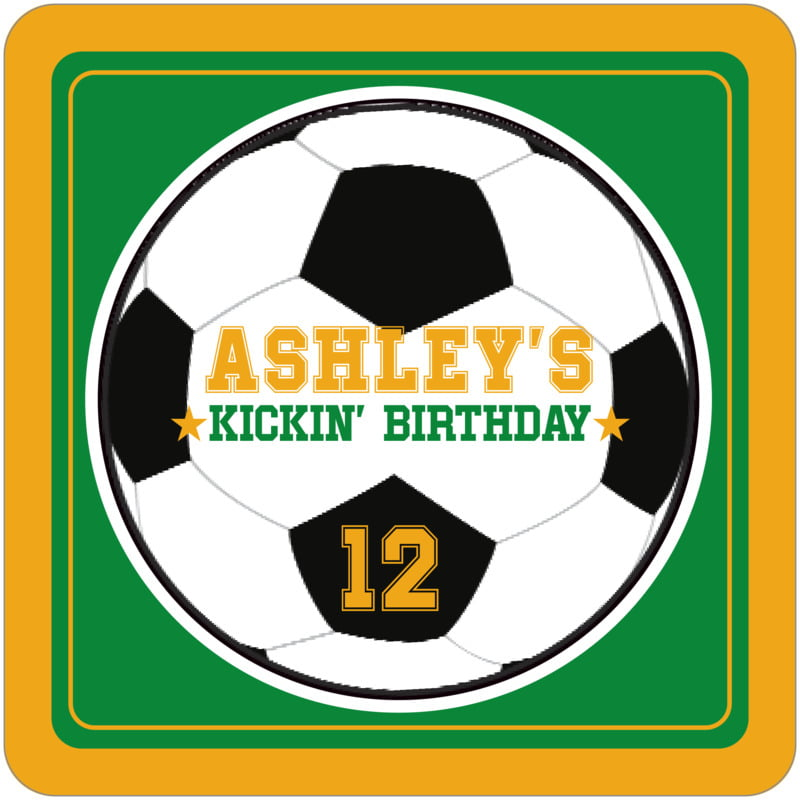 square beer coasters - green & gold - soccer (set of 12)