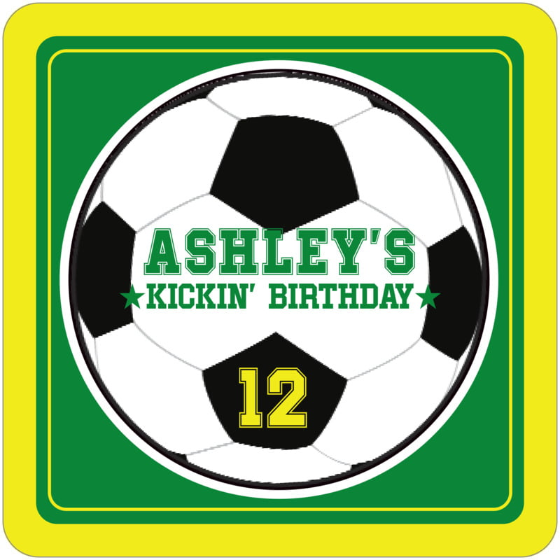square beer coasters - green & yellow - soccer (set of 12)