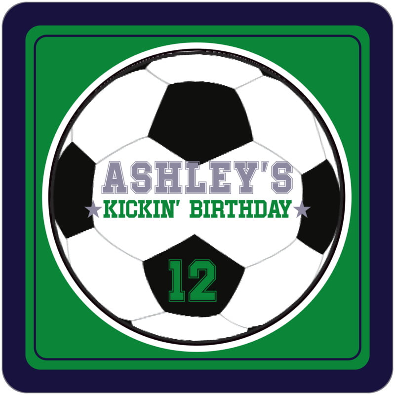 square beer coasters - green & navy - soccer (set of 12)