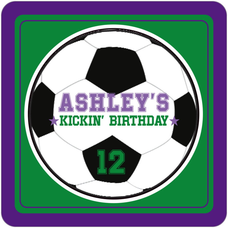 square beer coasters - green & purple - soccer (set of 12)