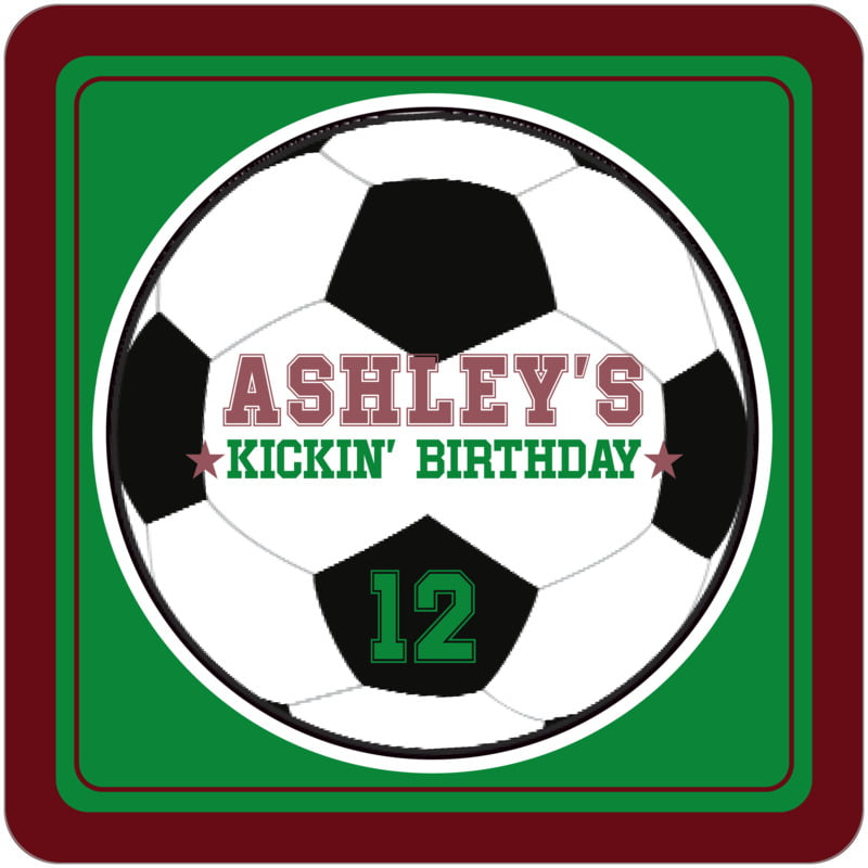 square beer coasters - green & maroon - soccer (set of 12)