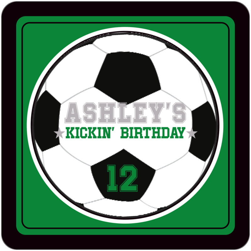 square beer coasters - green & black - soccer (set of 12)