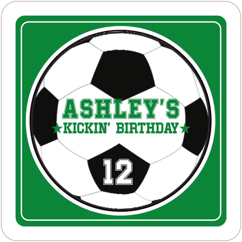 square beer coasters - green & white - soccer (set of 12)