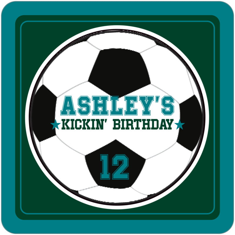 square beer coasters - forest & teal - soccer (set of 12)