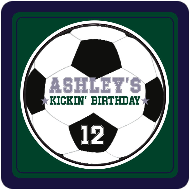 square beer coasters - forest & navy - soccer (set of 12)