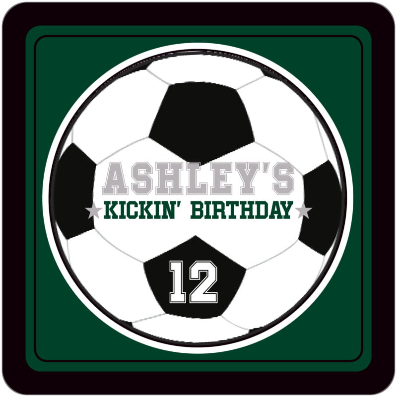 square beer coasters - forest & black - soccer (set of 12)