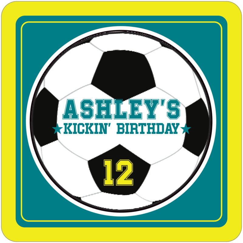 square beer coasters - teal & yellow - soccer (set of 12)