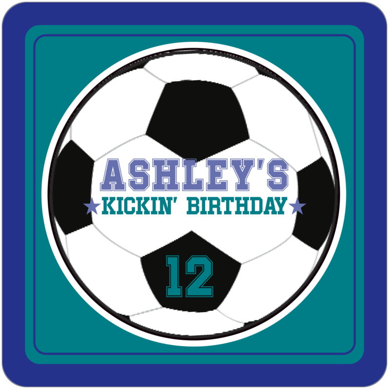 square beer coasters - teal & royal - soccer (set of 12)