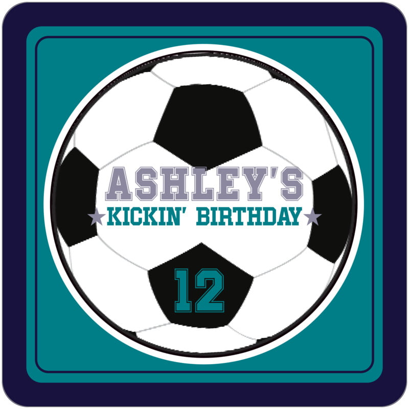 square beer coasters - teal & navy - soccer (set of 12)
