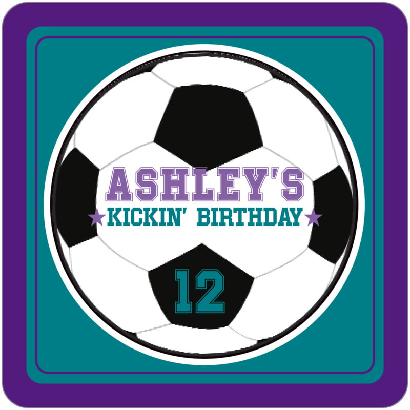square beer coasters - teal & purple - soccer (set of 12)
