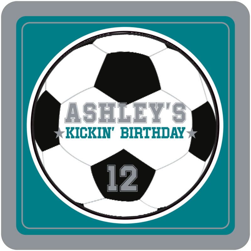 square beer coasters - teal & silver - soccer (set of 12)