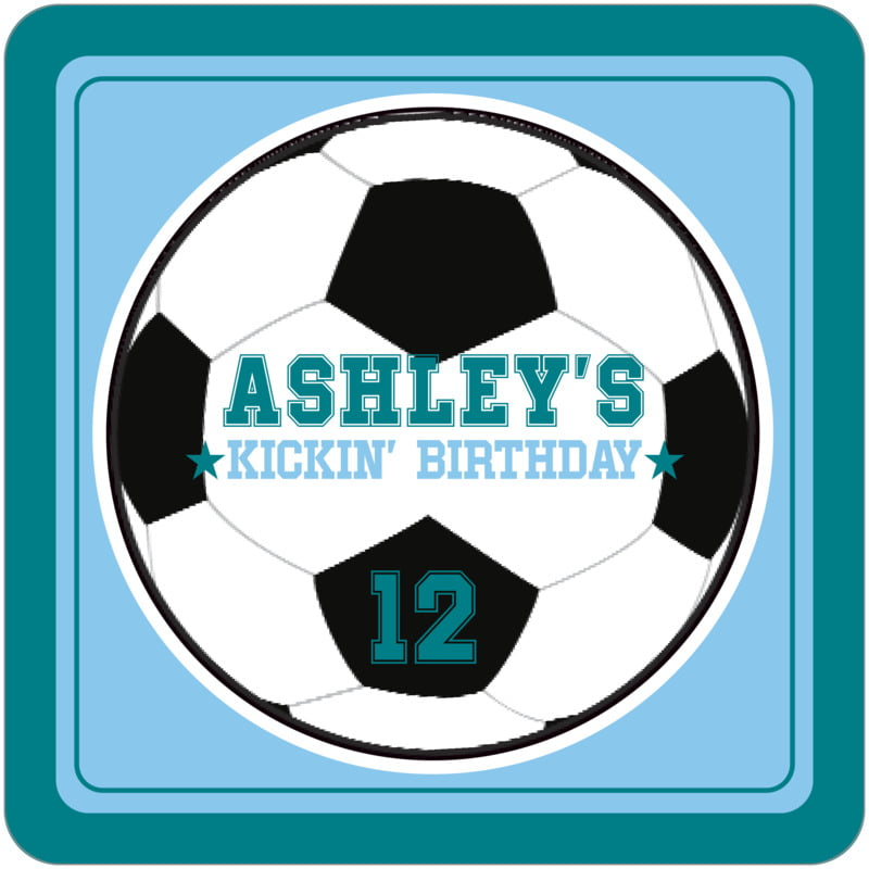 square beer coasters - light blue & teal - soccer (set of 12)