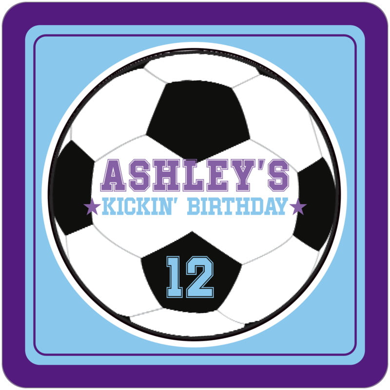 square beer coasters - light blue & purple - soccer (set of 12)