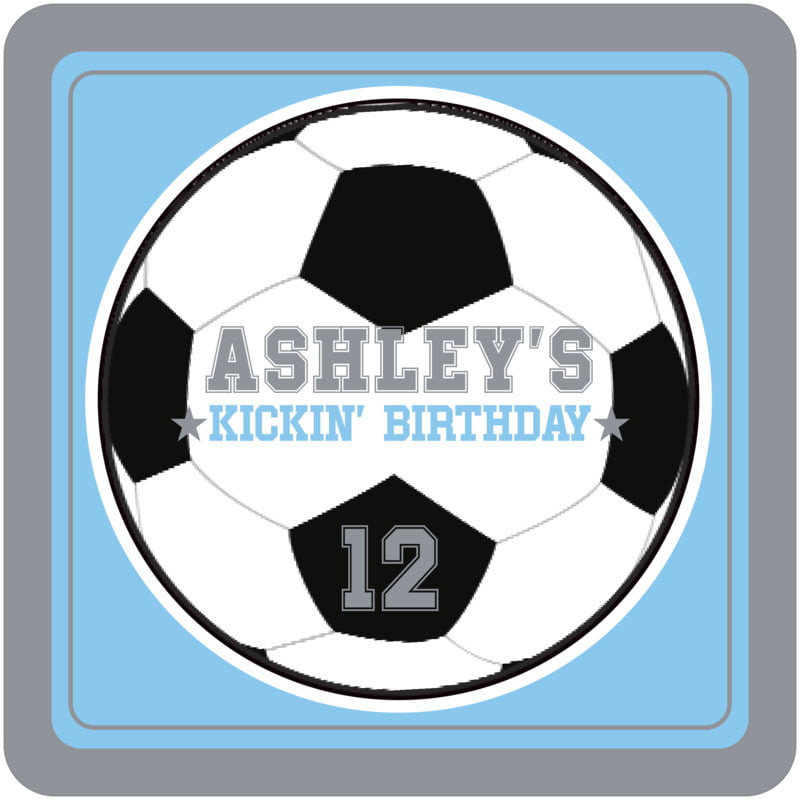 square beer coasters - light blue & silver - soccer (set of 12)