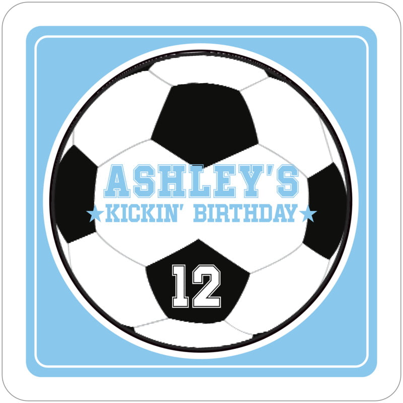 square beer coasters - light blue & white - soccer (set of 12)