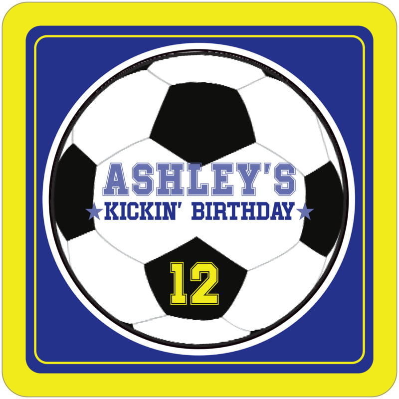 square beer coasters - royal & yellow - soccer (set of 12)