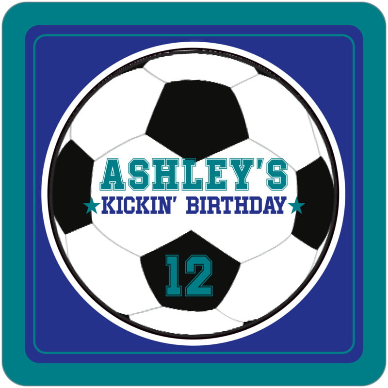 square beer coasters - royal & teal - soccer (set of 12)