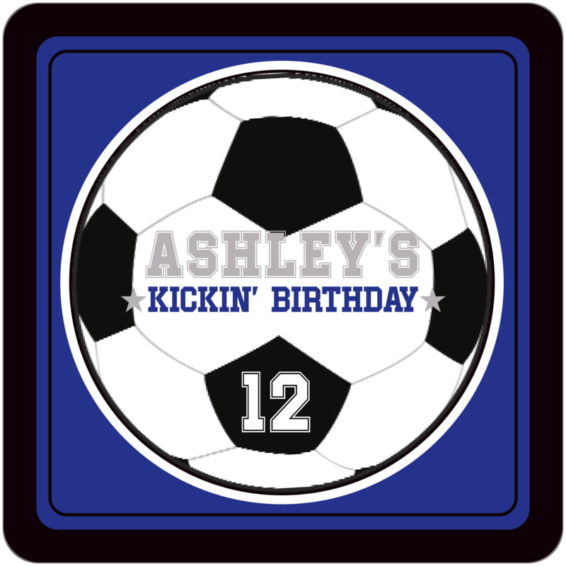 square beer coasters - royal & black - soccer (set of 12)