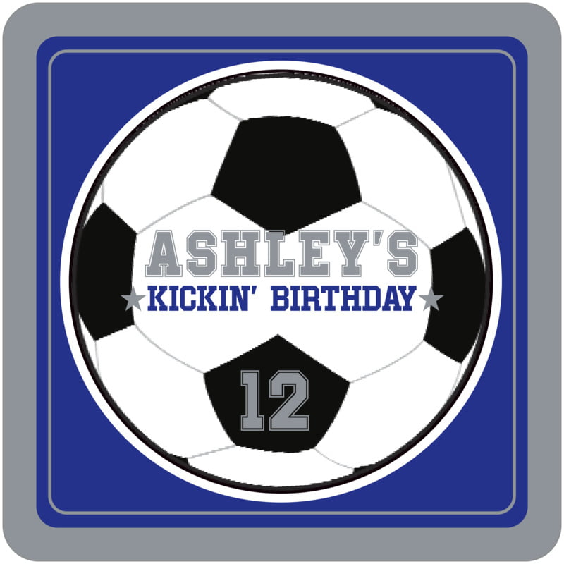 square beer coasters - royal & silver - soccer (set of 12)