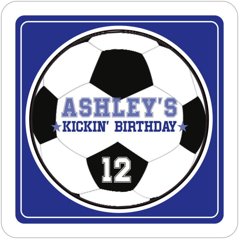 square beer coasters - royal & white - soccer (set of 12)