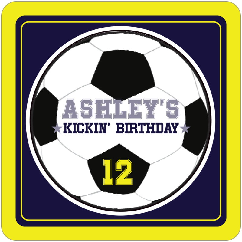 square beer coasters - navy & yellow - soccer (set of 12)