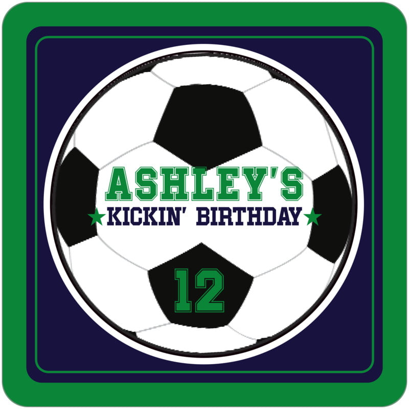 square beer coasters - navy & green - soccer (set of 12)