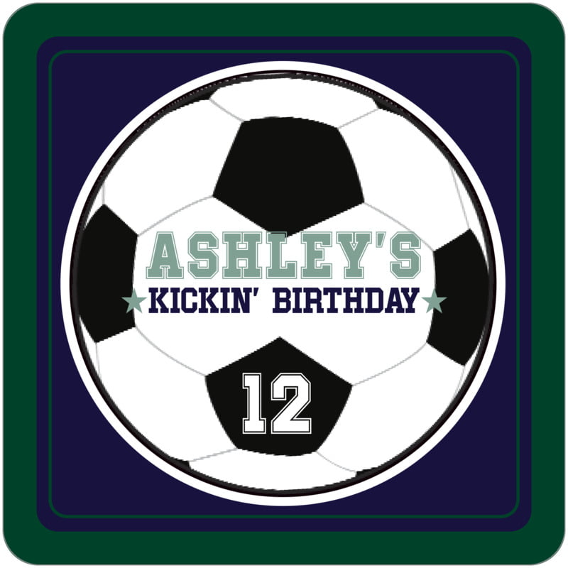 square beer coasters - navy & forest - soccer (set of 12)