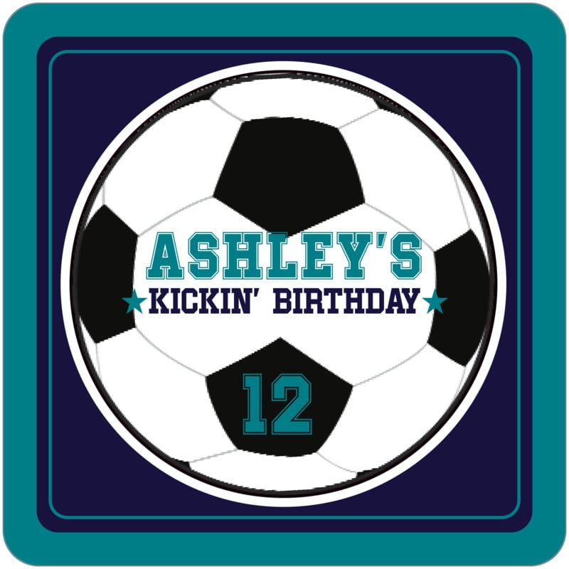 square beer coasters - navy & teal - soccer (set of 12)
