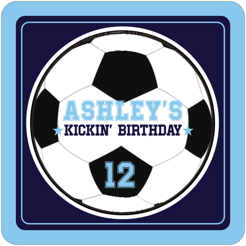 square beer coasters - navy & light blue - soccer (set of 12)
