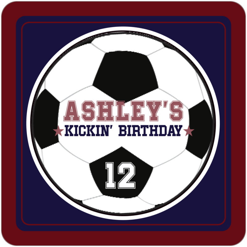 square beer coasters - navy & maroon - soccer (set of 12)