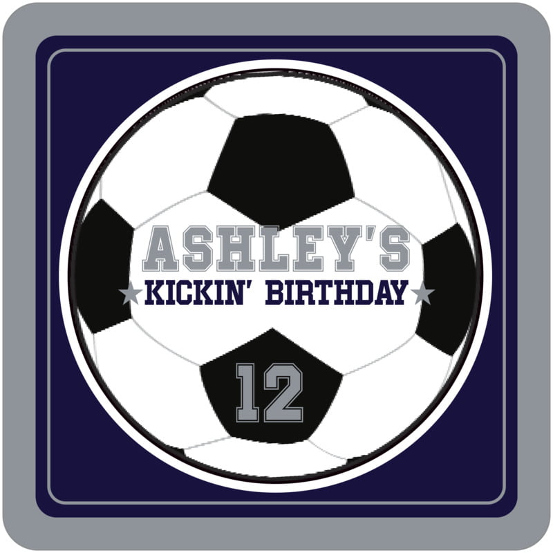 square beer coasters - navy & silver - soccer (set of 12)