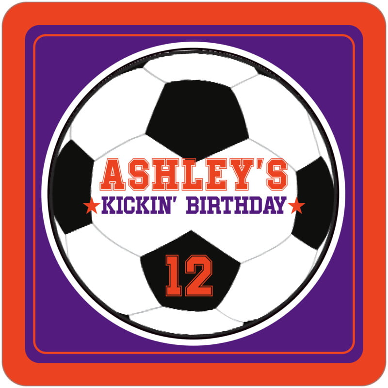 square beer coasters - purple & orange - soccer (set of 12)