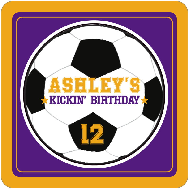 square beer coasters - purple & gold - soccer (set of 12)