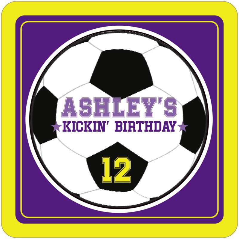 square beer coasters - purple & yellow - soccer (set of 12)