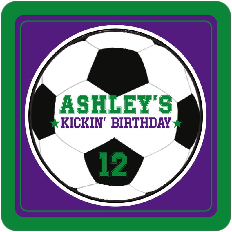 square beer coasters - purple & green - soccer (set of 12)