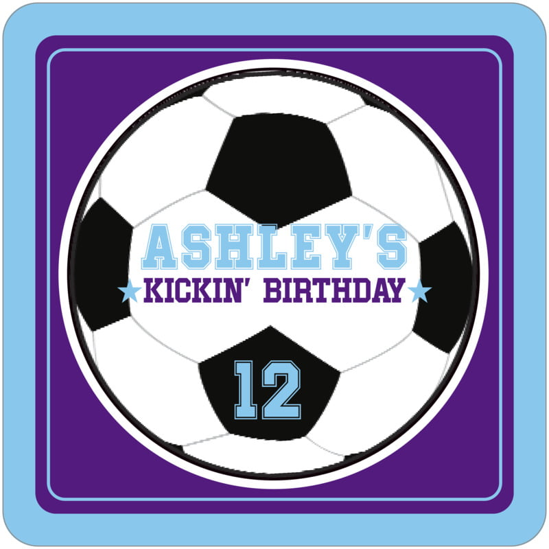 square beer coasters - purple & light blue - soccer (set of 12)