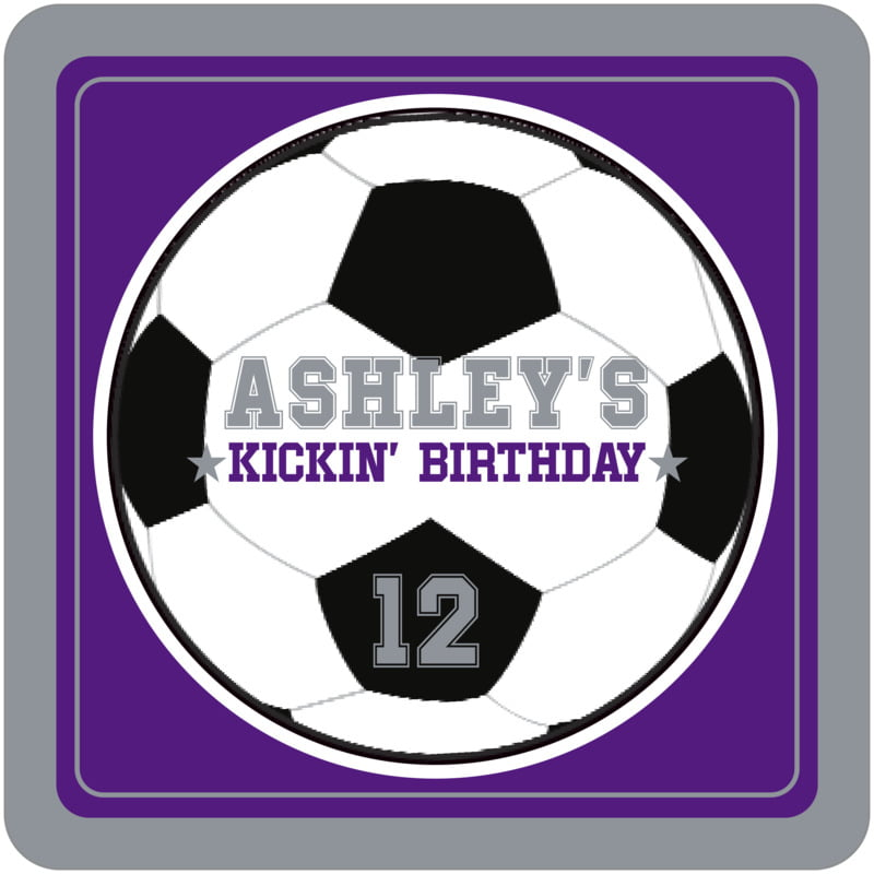 square beer coasters - purple & silver - soccer (set of 12)