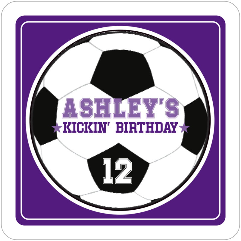 square beer coasters - purple & white - soccer (set of 12)
