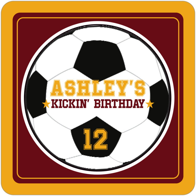 square beer coasters - maroon & gold - soccer (set of 12)