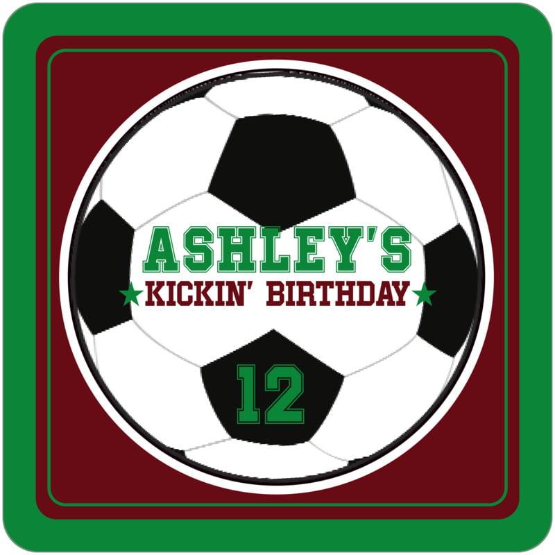 square beer coasters - maroon & green - soccer (set of 12)