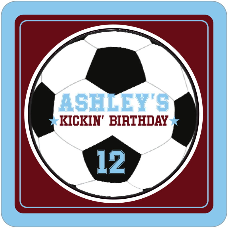 square beer coasters - maroon & light blue - soccer (set of 12)