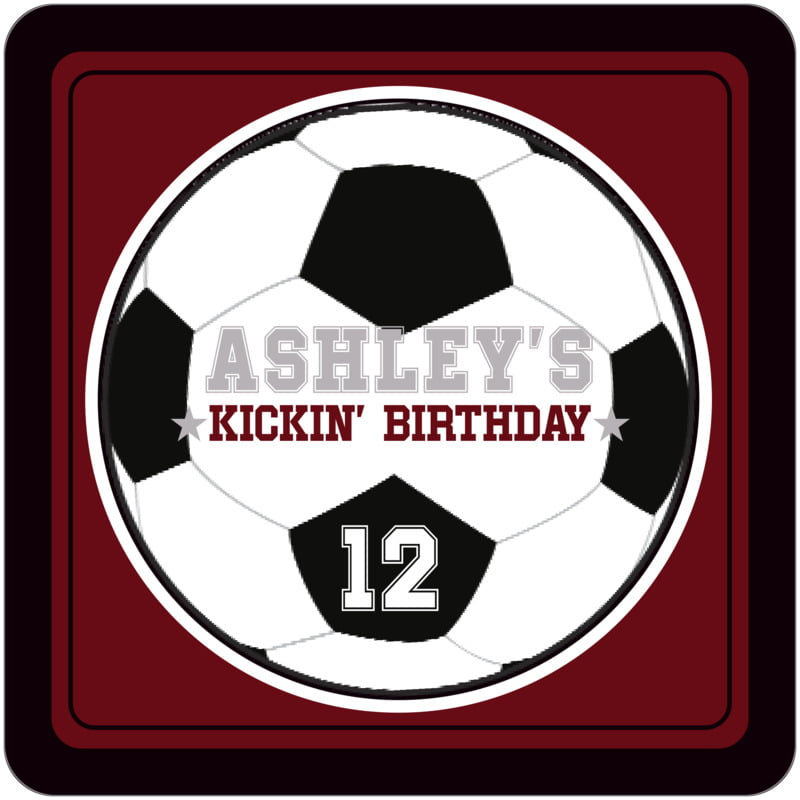 square beer coasters - maroon & black - soccer (set of 12)