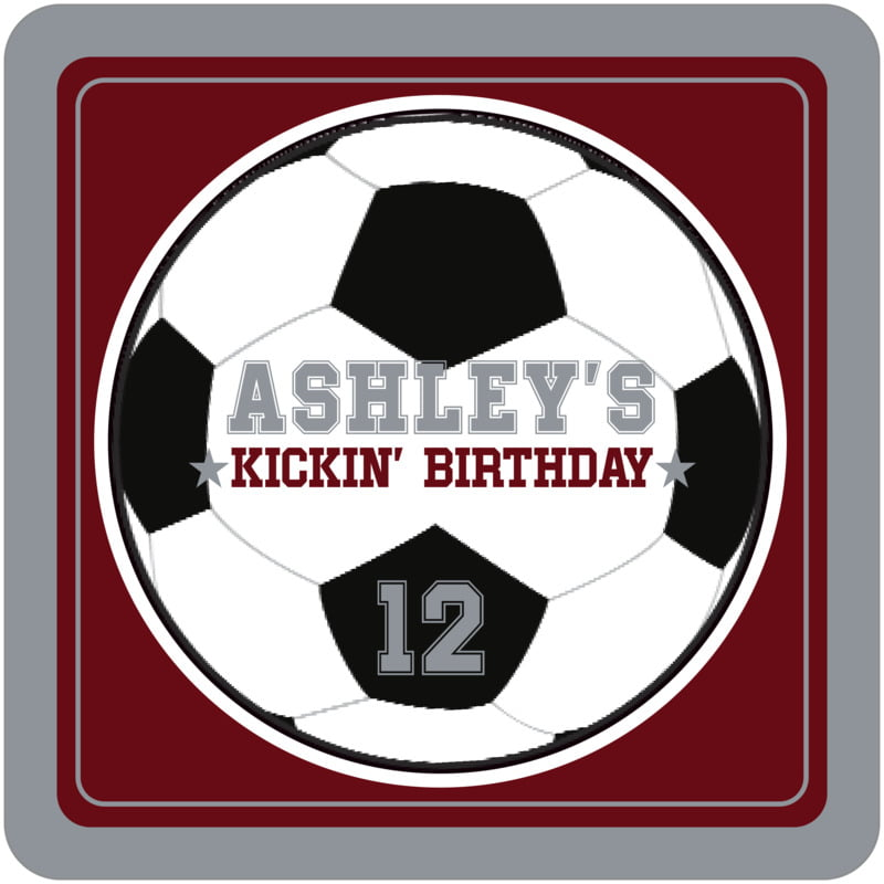square beer coasters - maroon & silver - soccer (set of 12)