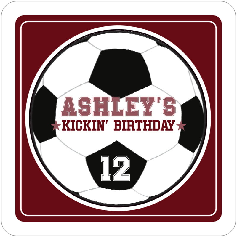 square beer coasters - maroon & white - soccer (set of 12)
