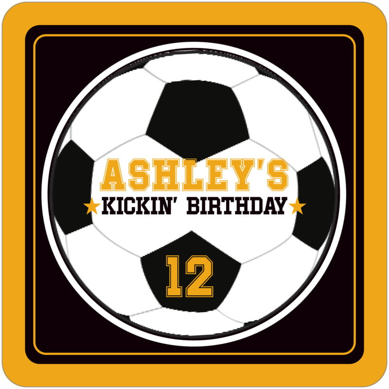 square beer coasters - black & gold - soccer (set of 12)