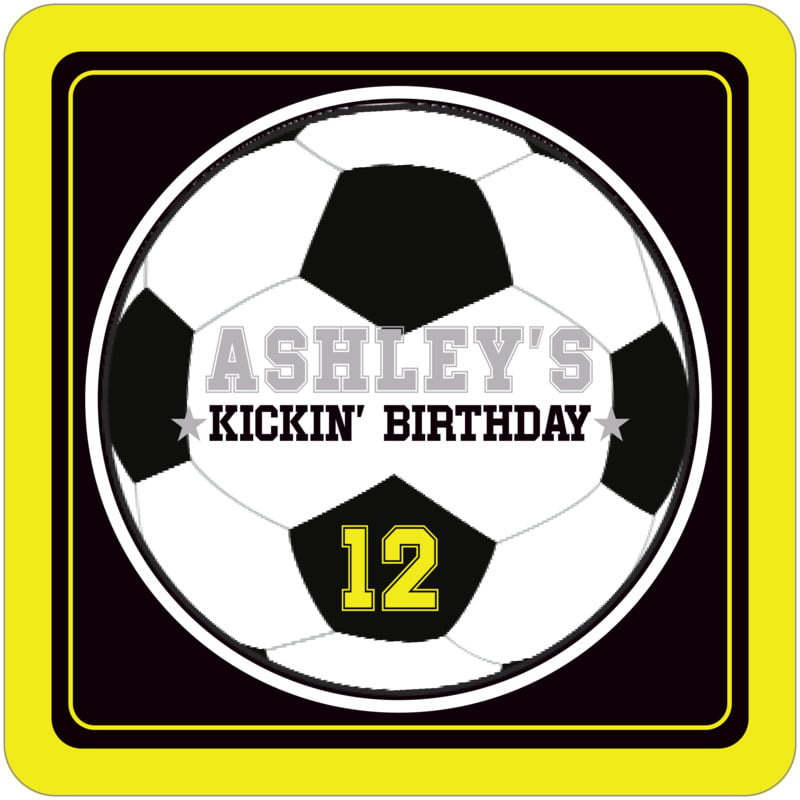 square beer coasters - black & yellow - soccer (set of 12)