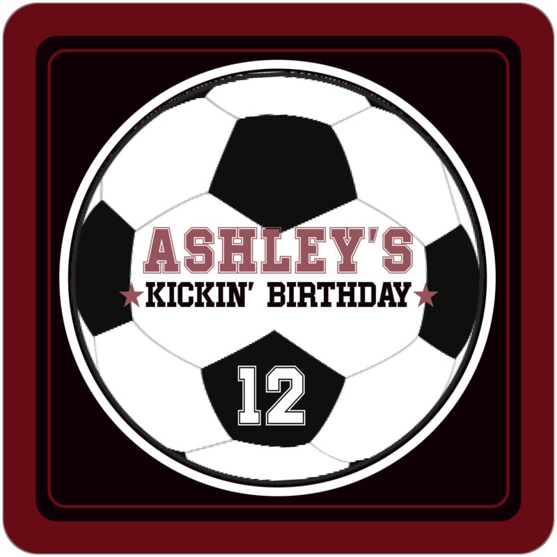 square beer coasters - black & maroon - soccer (set of 12)